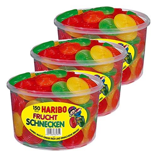 Haribo Fruchtschnecken, 3er Set, Gummibärchen, Weingummi, Fruchtgummi, 150 Stück, 1200g Dose