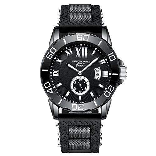 Anthony James Limited Edition Emperor Herren Sport Armbanduhr mit lebenslangen Garantie, Black Metal Gehäuse und Durable Gummi Handgelenk Band