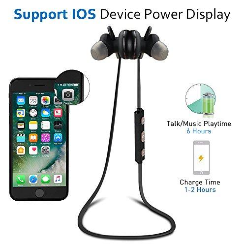 Bluetooth Kopfhörer Bovon Kabellose Magnetische Attraktive IPX4 Spritzwasserfest Sport Headset Stereo In-Ear Ohrhörer mit Mikrofon für iPhone, iPad, Samsung, Nexus, HTC und mehr (schwarz) - 2
