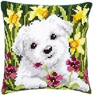 Cross stitch cushion kit Westie in daffodils