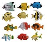 Tia-Ve Aquarium-Simulation, tropische Fische aus Kunststoff, Spielzeug-Set, 12 Stück