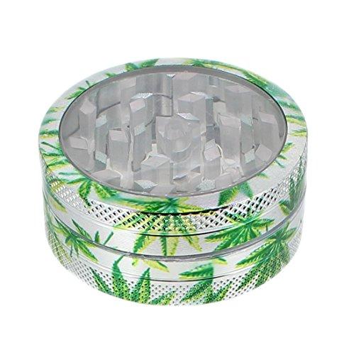 budawi® - Crusher aus Metall Ø 50 mm mit Zwischenboden und Hanf Motiv, Grinder, Grasmühle mit Sichtfenster (Kräutermühle)