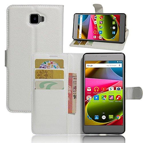 Tasche für Archos 55 Cobalt Plus Hülle, Ycloud PU Ledertasche Flip Cover Wallet Case Handyhülle mit Stand Function Credit Card Slots Bookstyle Purse Design weiß
