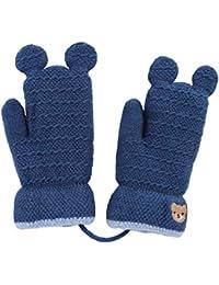 Gants Enfants Filles Garçons Moufles Tricot Hiver Epais Mitaines Plein- doigts Thermique Motif Ours Adorable 2ea27147cc5