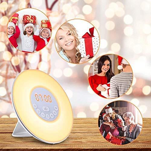 MISJIA Fashion Wake-Up Light Alarm Clock Electronic Digital Clock Bedside Lamp UK Plug (FM Radio) (Fashion Style)