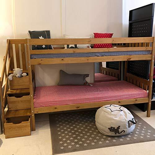 Etagenbett CHALET Multifunktions Stockbett Treppenregal, Doppelstockbett, Bett für 2 Kinder, Zwillingsbett, Kinderbett Zwillinge, Massivholz Birke gebeizt dunkelbraun, 90x200cm #15559 -