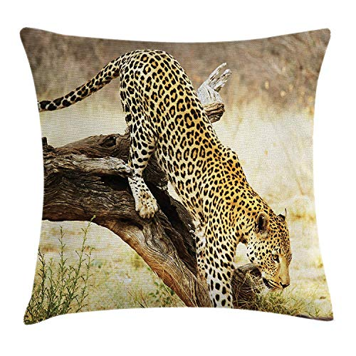 Safari Throw Pillow Cushion Cover, Leopard On Tree Trunk Desert Plants Exotic Hunter Predator Big Cat Image, Decorative Square Accent Pillow Case, 18 X 18 Inches, Yellow Green Brown -