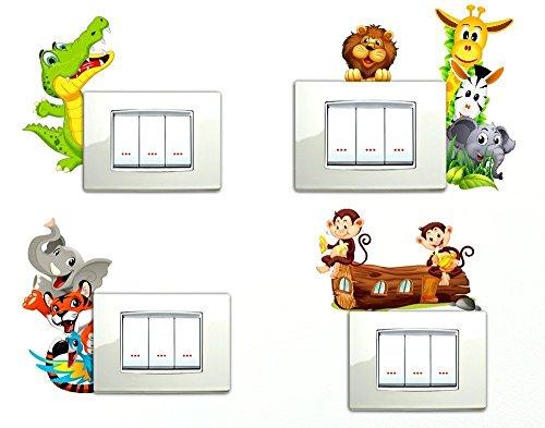 Adesivi Murali Con Animali.Adesivi Murali Bambini Adesivi Per Interruttore 5 Pezzi Giraffa Zebra Allegri E Colorati Animaletti Della Savana Animali Zoo Scimmiette Coccodrillo