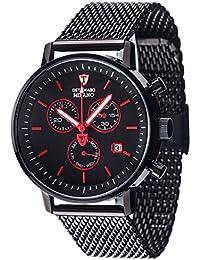 DETMASO Herren-Armbanduhr Milano Classic mit schwarzem Edelstahlgehäuse und schwarem Zifferblatt. Elegante Quarz Herren-Uhr mit schwarzem Milanaise-Armband