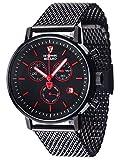 DETOMASO MILANO Herren-Armbanduhr Chronograph Analog Quarz schwarzes Edelstahl Milanaise-Armband schwarzes Zifferblatt DT1052-M