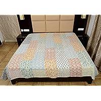 Blocco Stampa Tessuto patchwork kantha trapunta matrimoniale, Bohemian Bedding indiano, Coperta, Copriletto in cotone