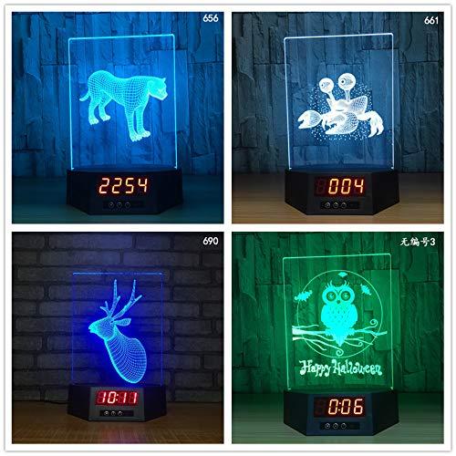 Leopard Crab Deer Owl Form 3D Illusion Kalender Uhr Lampe 7 Farben Ändern GRB LED Tier Tischlampe Urlaub Nachtlicht han-10643 -