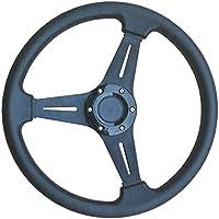 Nero Deep Dish Drifting/Track Volante da corsa/Sport/Drift/pelle Eff 350mm/14