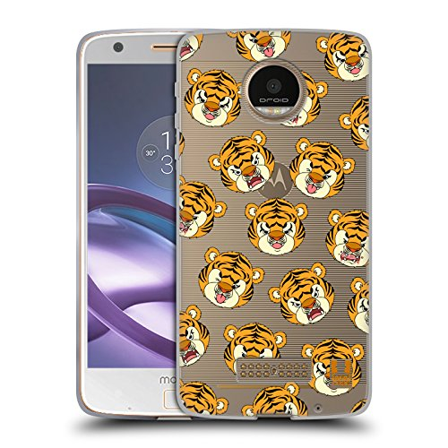 Head Case Designs Tiger Niedliche Tiere Soft Gel Hülle für Moto Z Force / Z Force Droid (Ultra Force-tiger)