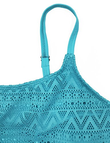 FLYILY Damen Badeanzug Zweiteilig Schwimmanzug Elegantes Push Up Sportlich Tankini Swimsuit (FBA) LakeBlue