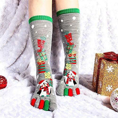 MCYs 1 Paar Weihnachten Unisec Print Multicolor Zehensocken Fünf Finger Socken Cotton Lustige Socken für Damen und Teens Bettsocke Weihnacht Socke