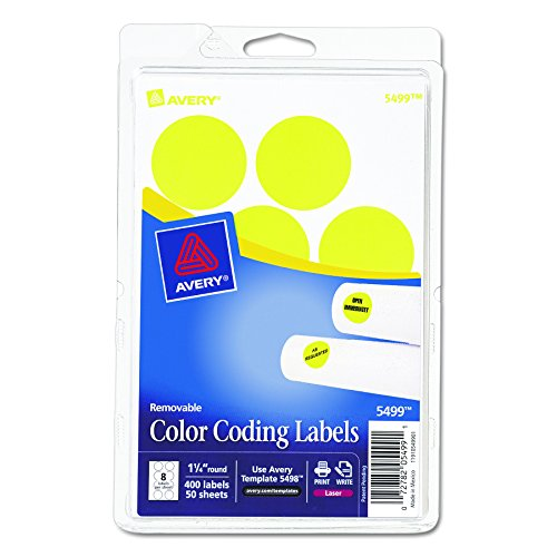 Print or Write Removable Color-Coding Labels, 1-1/4in dia, Neon Yellow, 400/Pack