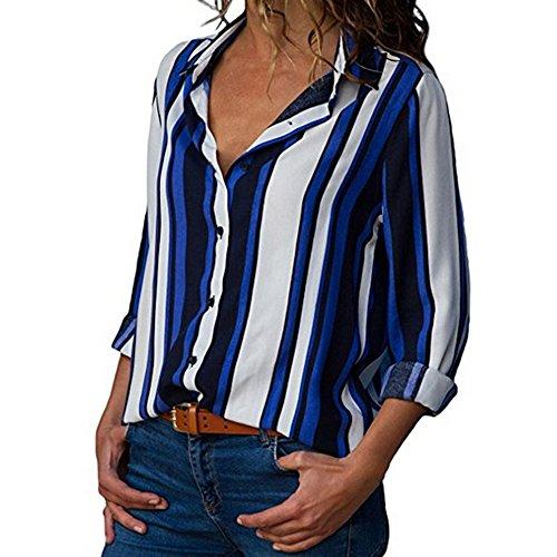 ITISME FRAUEN BLUSE Damen Casual Langarm Farbblock Streifen Button T Shirts Tops Bluse (L, Blau27)
