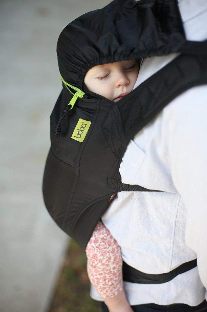 """Boba Air light weight baby and toddler carrier - easy to store - back and front carrier - black  The Boba Air Comfortably fits heights: 5'0"""" to 6'3"""", waistband range: 27"""" to 55"""" and accommodates babies & young toddlers(5 months+) plus the Body of carrier rises 16"""" offering excellent back support for toddlers Front or Back Carry: This light weight carrier is made with durable material so that it can be used children 15-45lbs. The BobaAir may be used on the front or back. Nylon: The Boba Air is 100% Nylon and therefore easy to clean and extremely durable. The nylon fabric also allows you to simply stuff the carrier back into the pocket - no careful folding necessary! 4"""