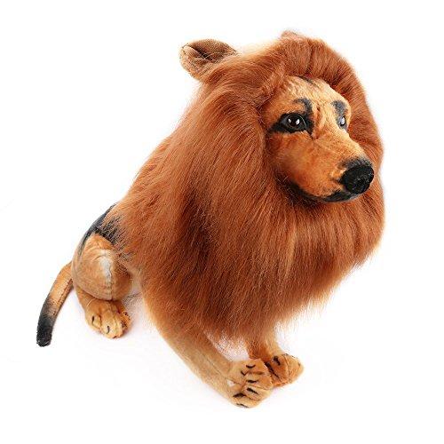 Hund Lion Mähne, verstellbare Realistische Löwe Mähne für Hunde Groß Mittel mit Ohren Pet Lion Mähne Kostüm Halloween Party, Tier Cosplay, Funny Prank