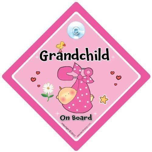 """Grandchild on Board Pink Safety Pin a bordo, con scritta """"Grandchild"""", Bebè a bordo, decalcomania, adesivo per auto con scritta """"Grandchild"""", """"Grandparents"""", cartello Segnale auto """"Baby Sign-Cartello auto-Signs nonno e nonna, per"""