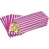 100 Bolsas de Papel Coloridas Blancas con Rayas Rosas para Fiestas / Fulces / Palomitas de 10cm x 24cm x 7.6cm
