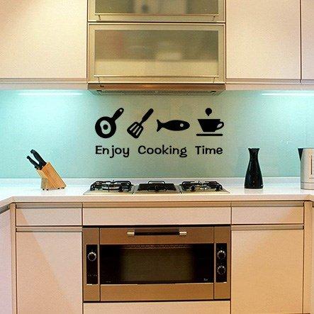 JWQT Die Küche ist mit Acryl stereoskopische Wandaufklebern, cartoon Küchenutensilien, dekorative Sticker, Aufkleber, kreative Restaurants, Glas Aufkleber,245 Glücklich Küche - orange rot, übergroße