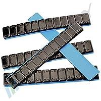 25 Pesi equilibratura NERO 12x5g Pesi adesivi Pesi in acciaio Striscia adesiva 60g con BORDO STRAPPO zincato & rivestito plastica KG nero 5gx12 1,5 KG