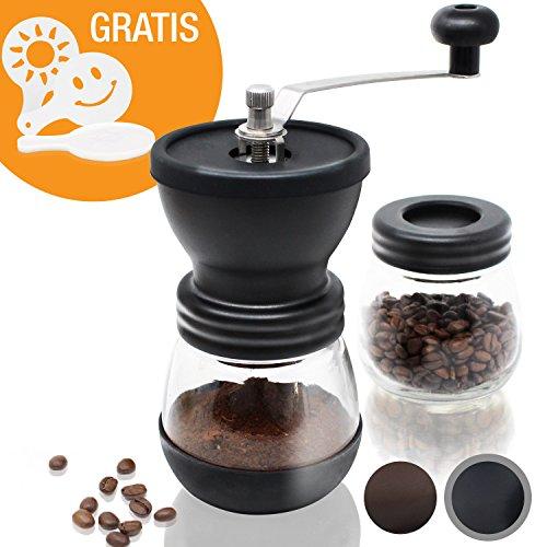 Amazy Manuelle Kaffeemühle inkl. Extra-Behälter + 16 Schablonen – Handliche Mühle mit...