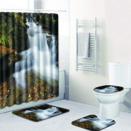 WANJIA Rutschfestes Badezimmer-Set, Duschvorhang + Badematte + U-förmige Badematte + WC-Abdeckung 4 Kombinationen+12 Haken für Duschvorhänge. 50 * 80cm W180716-D006