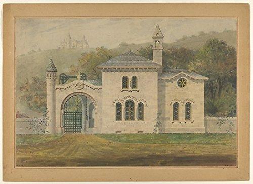 The Poster Corp Alexander Jackson Davis - Gate Lodge for Amos G. Hull Newburgh New York (Front Elevation) Kunstdruck (45,72 x 60,96 cm) - Jackson Lodge