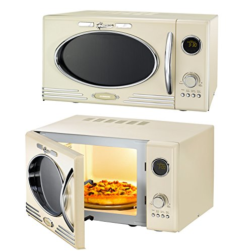 Melissa Classico Mikrowelle Creme Grill im Retro-Design, Grillfunktion Microwave