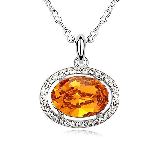 Idin-Collana-Collana placcata oro con cristallo Swarovski Elements citrino ciondolo ovale Ciondolo (catena 40, 3.4x 2cm)