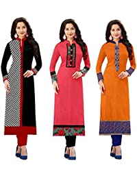 Hari Enterprise Women's Cotton Semi-stiched Kurti (1002.1017.1003, Multicolour, XXXL) - Pack of 3