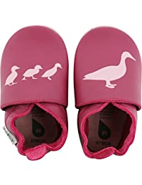 Bobux Duck Print Cerise Leather Baby Soft Soles