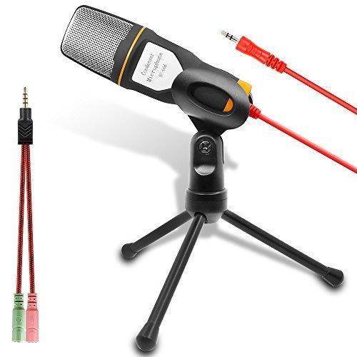 Microfono del Computer, Microfono a Condensatore Esterno per Podcast e Skype Chat, Adatto alla Maggior Aarte dei PC Laptop (Nero e Arancione)
