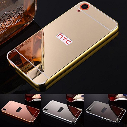 MVE(TM) Branded Luxury Metal Bumper + Acrylic Mirror Back Cover Case For HTC DESIRE 820 gold plated