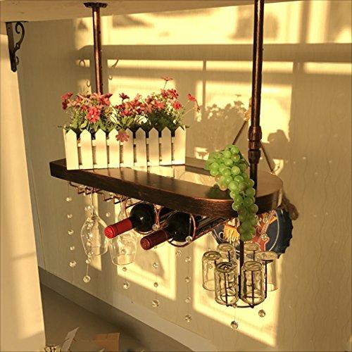 A-Fort Rack Holder Bartheke Weinregal Restaurant Haushalt Weingläser Inverted Rack Retro Iron Art Weinregale (Größe : 60 * 28cm)