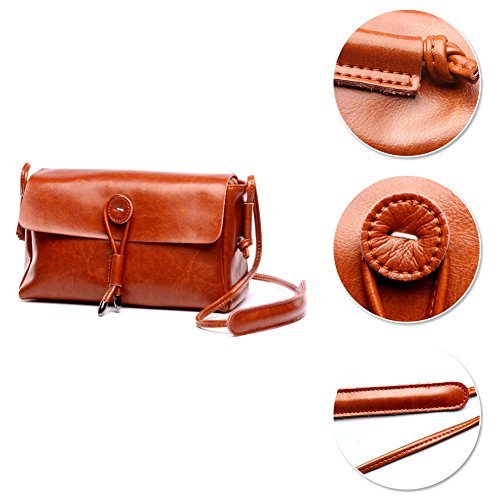 Borsa a tracolla da donna fatta a mano vintage genuino in vera pelle borsa a tracolla con tracolla Yoome - beige Marrone
