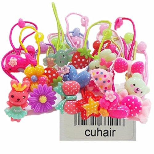cuhair 20Mix Cute Flower Cartoon Elastic Haar Krawatte Pferdeschwanz Halter Haar-Accessoires für Kids Baby ()