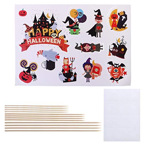 Fogun 11 Stück Kinder Geburtstag DIY Halloween Kuchen Topper Flagge Cupcake Einsatz Karte Dekoration