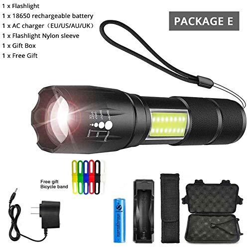 YANODA LED Taschenlampe Seitenlampe Design T6 / L2 8000 Lumen Zoomfähige Taschenlampe 4 Lichtmodi for 18650 Batterie (Body Color : T6 4000 Lumens, Emitting Color : Package E)
