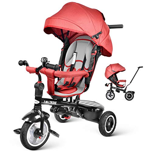 Besrey 7 en 1 Triciclos Bebes reclinable con Asiento Giratorio, Triciclo para Bebe Nino evolutivo Infantil...