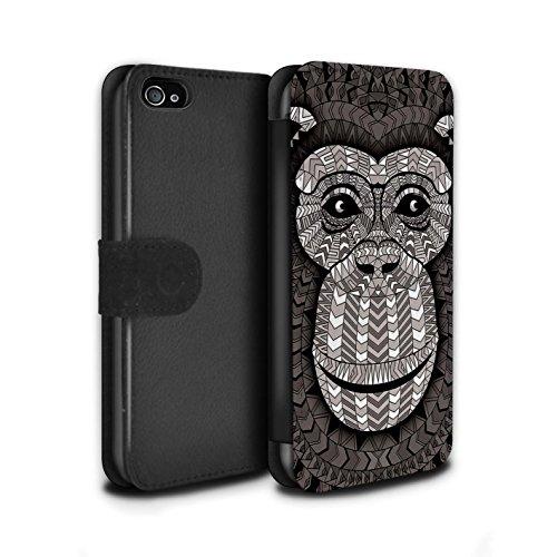 Stuff4® PU-Leder Hülle/Case/Tasche/Cover für Apple iPhone 4/4S / AFFE-Mono Muster/Aztec Tier Muster Kollektion (Affe 4s Iphone)