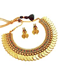 Jewels Gehna Antique Golden Traditional Temple Coin Necklace Set For Woman & Girls