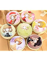 (Pack of 3) Cute Metal Tin Case Pouch For Earphone Pouch Case Bag Coins Memory Card Pouch Pendrive Bag Pouch box Case Jewllery Box Pouch Bag Case Wallet Pouch Mini Purse Accessories kit pouch box organizer gift for womens girls ladies gifts (Random Prints)