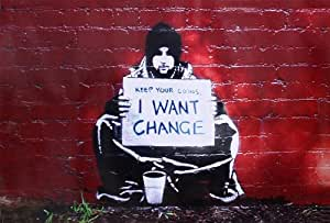 """'poster Meek Banksy """"kEEP yOUR Coins (garder leurs pièces) Apportez-moi le changement–estílo Banksy (59cm x 42cm)"""