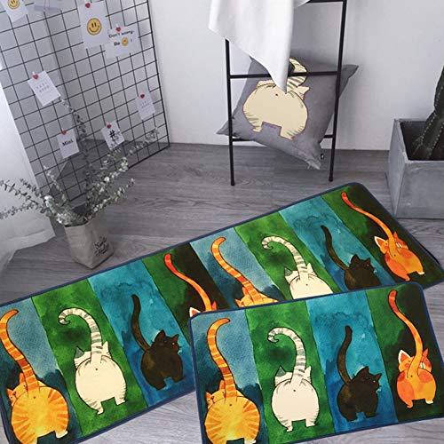 JSIHENA Anti-Rutsch waschbar 2 Stück Küchenmatten,Fußmatte Innenbereich Teppiche Küchenteppich Küchenläufer Matte Set Rutschfest, Läufer mit Katzenmuster,D,50 * 80cm+50 * 180cm - Läufer Teppich Gummi Wieder