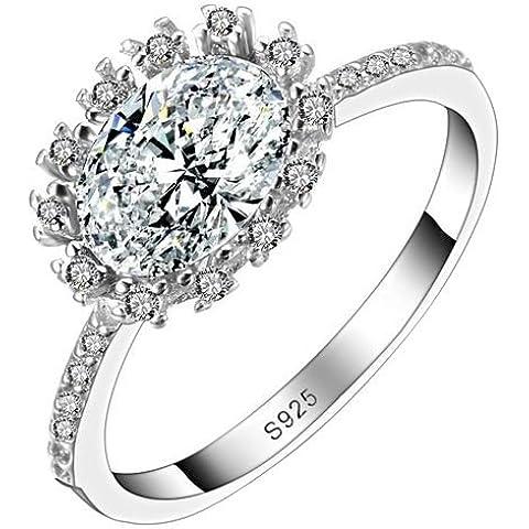 So Chic Gioielli - Anello di Fidanzamento Ottavia - Solitario Rotondo Fiore Sole - Zirconia Cubica Bianco Argento Sterling 925