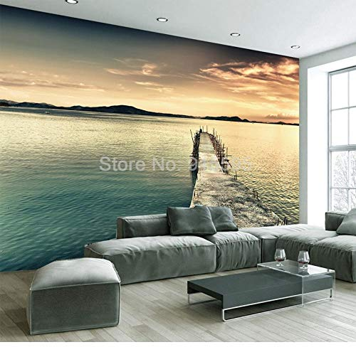ZAMLE Benutzerdefinierte Wandbild Wand Papier 3D Berg Wasser Malerei Natur Landschaft Fotografie Hintergrund Foto Tapetenrolle, 430x300 cm (169.3 by 118.1 in) (Fotografie-hintergrund-wasser)